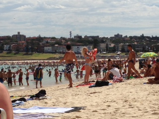 Bondi beach on a hot summer day